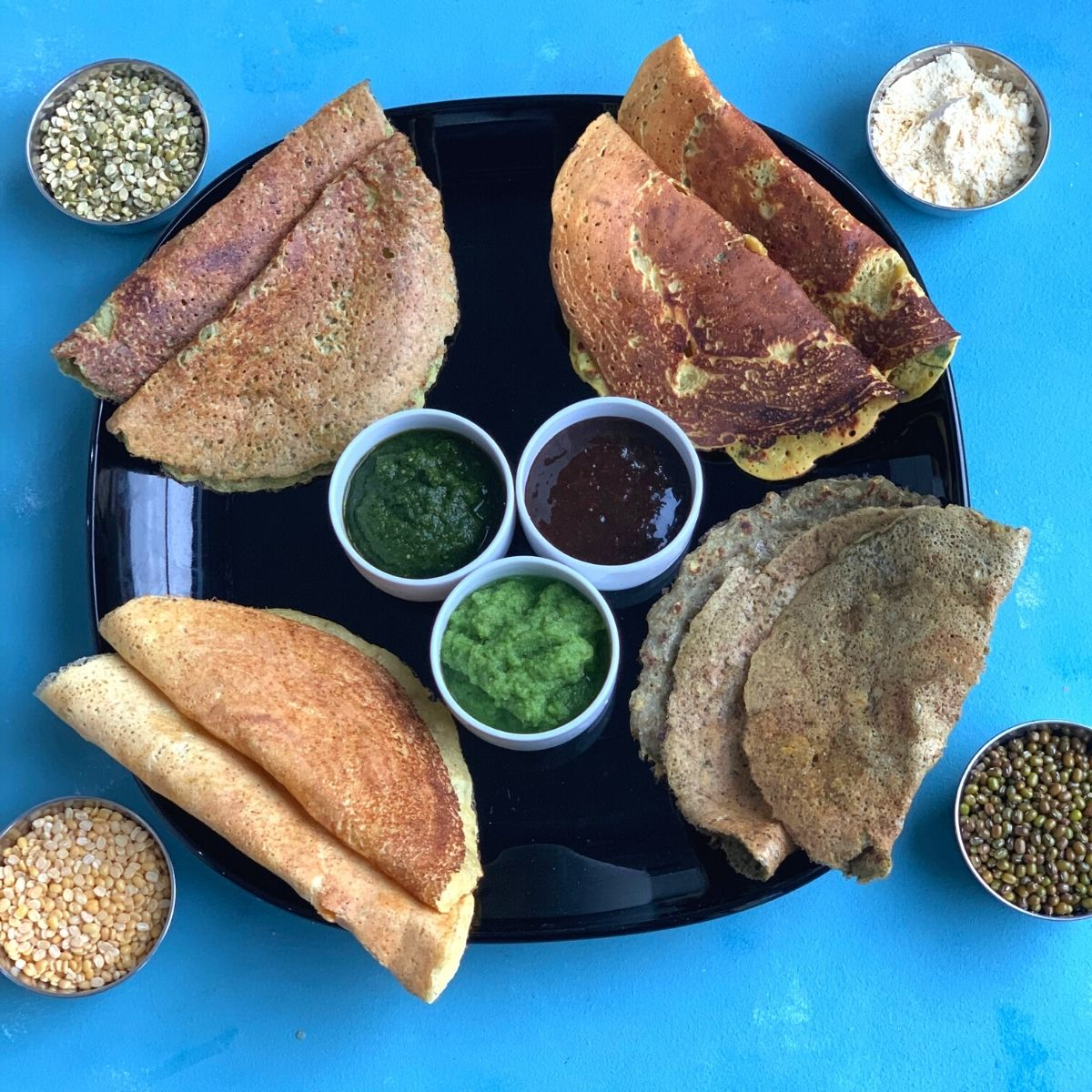 Protein-packed Chilla Platter had different types of vegan savory crepes from the North of Indian which can be served for breakfast or snack.