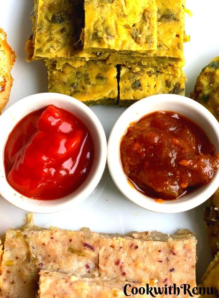 Close up look of Tomato Sauce & Green Tomato Chutney