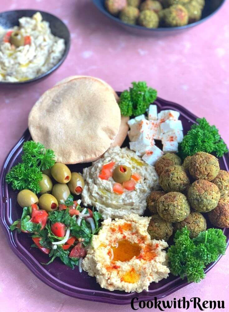 Simple Vegetarian Mezze Platter is a party platter with easy and healthy mezze recipes from Middle East for you to enjoy.