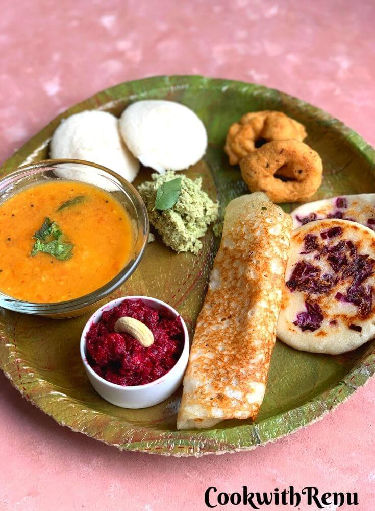 South Indian Breakfast thali is a lip-smacking delicious thali, perfect for all ages and a complete balance of carbs and proteins.
