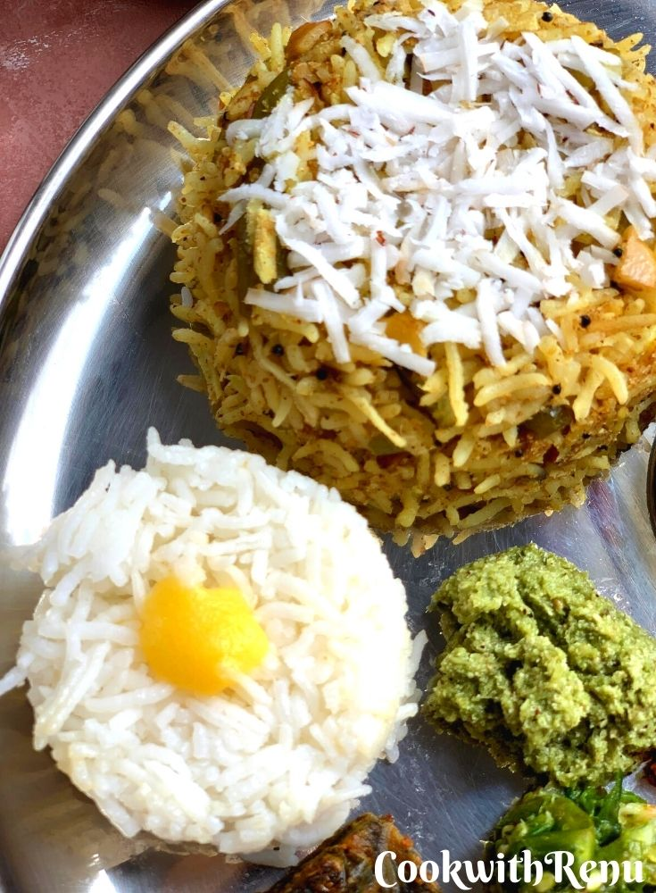 Steamed Rice and Tendli Bhaat