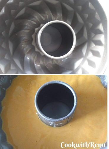 Greasing and Adding in Bundt Cake Tin
