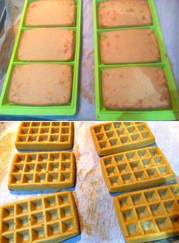 Baked waffle, bottom and top look