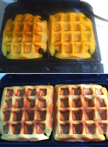 Waffle getting ready in waffle iron