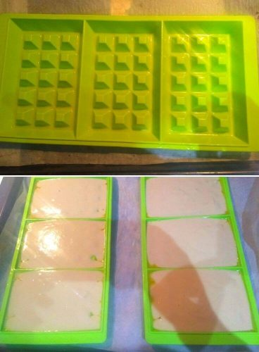 Waffle batter poured in silicone moulds