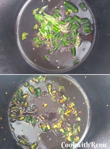 Shallow frying the green chillies and curry leaves