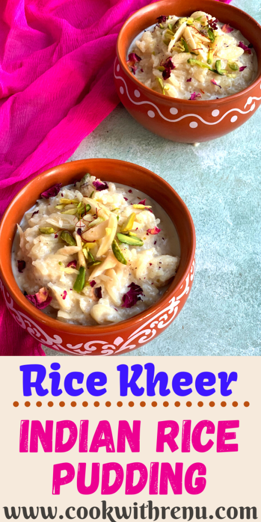 Rich and creamy Rice Kheer or Indian Rice pudding is one of the quintessential Indian desserts made using Rice, Milk and Sugar.