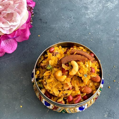 Roasted Poha Chivda is a vegan lip-smacking Maharashtrian snack specially made during Diwali or eaten as a tea time snack.