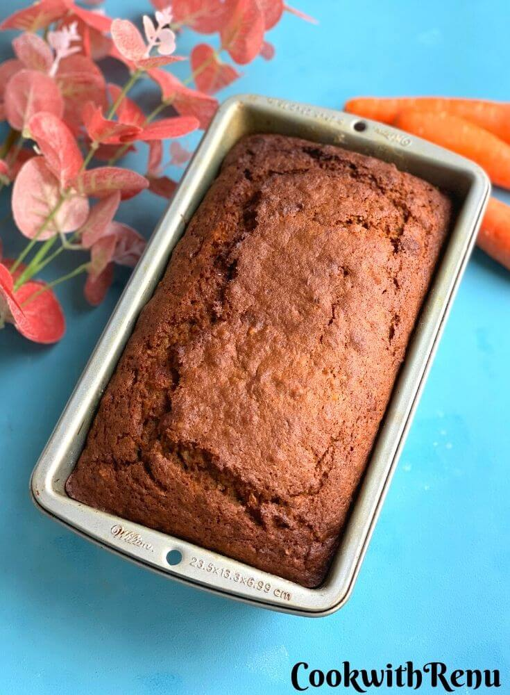 Whole Wheat Carrot Cake is a simple, quick and delicious moist cake. Grated carrots added to the batter adds to the moistness of the cake as well as give it a light texture. Walnuts or pecans are added to give it a nice crunch and cinnamon for flavour and taste.