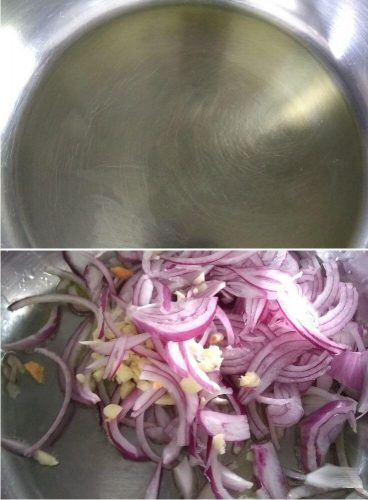 Making of Filling, Adding onion and garlic in oil