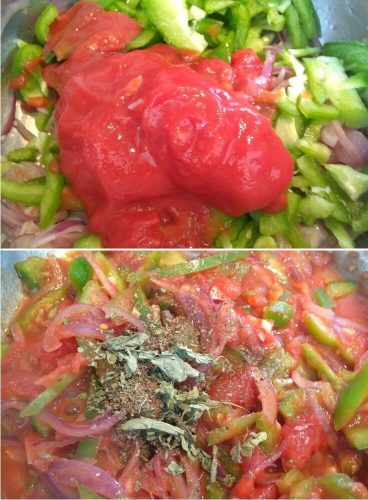 Making of Filling, adding the tomato puree and herbs