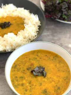 Kale Toor Dal is a healthy, comforting dal that can be enjoyed as is like a soup on cold days or goes well with roti or rice.