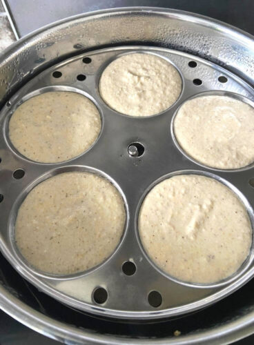 Idli ready to be steamed in Steamer