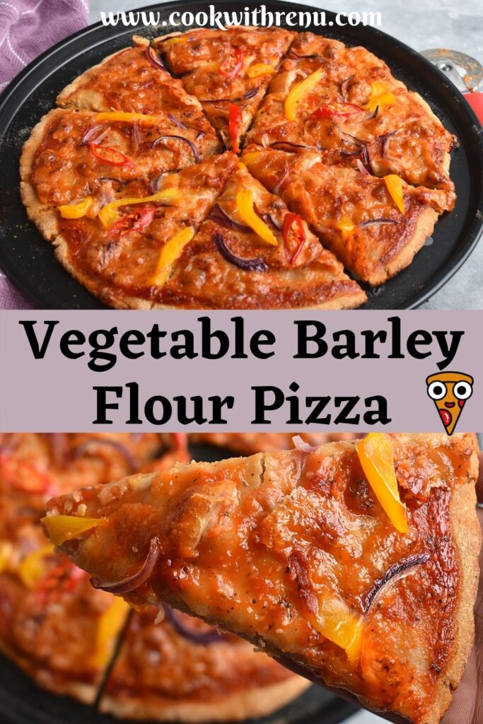Top image shows a 12 Inch Barley Pizza cut into slices. Bottom shows a cut slice with close up texture
