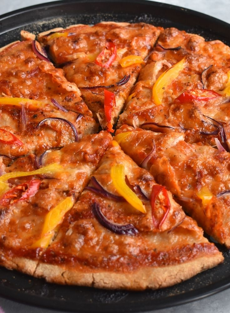 Close up look of barley flour pizza