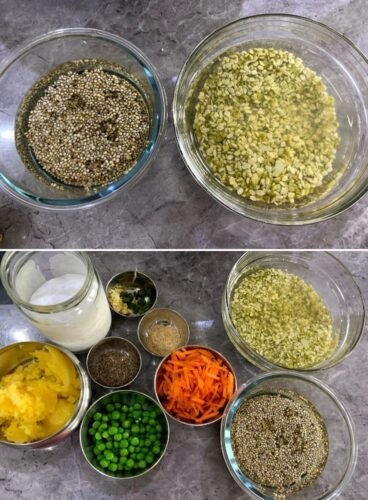 Ingredients for Khichdi in a bowl, with soak dal and bajra. Vegetables and spices in different bowls