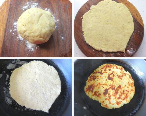 Collage showing, the making of Boxty, Irish Flat bread