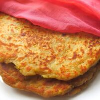 Close up look of potato flatbread stacked one above other