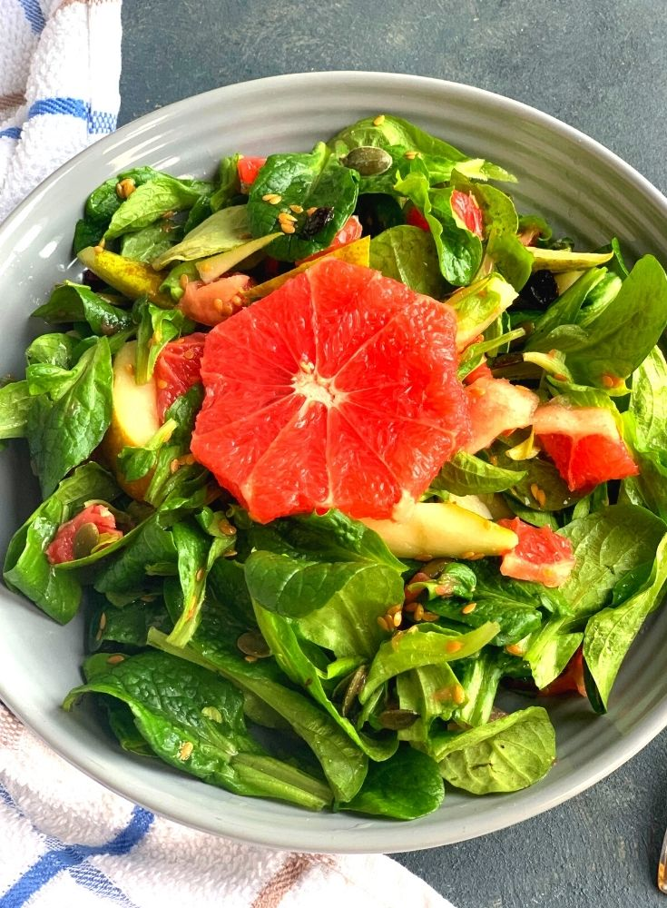 Lettuce, Pear and Grapefruit in a grey bowl