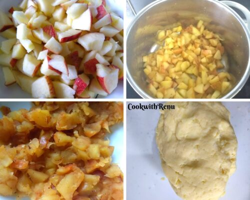 Making of Apple filling and potato flour dough