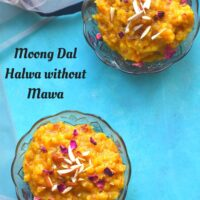 Moong Dal halwa without mawa served in two glass bowls