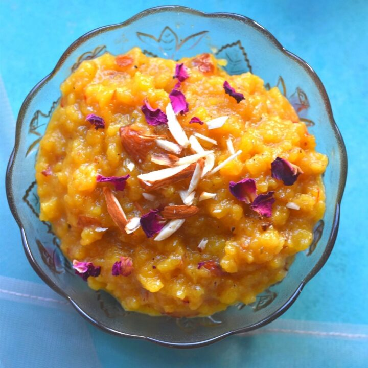 Close up look of Moong Dal halwa without mawa