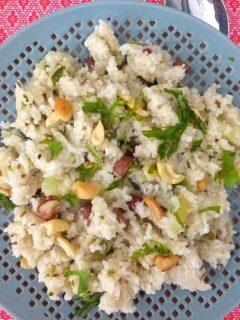 Samak rice khichdi served on a grey plate