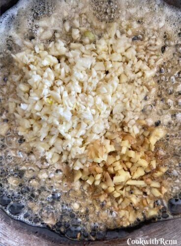Adding of Ginger and Garlic in pan