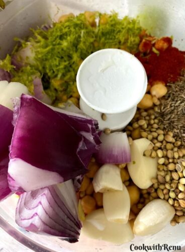 Ingredients in the food processor
