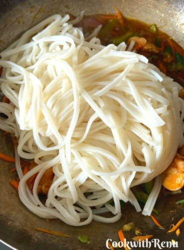 Adding of Rice Noodles