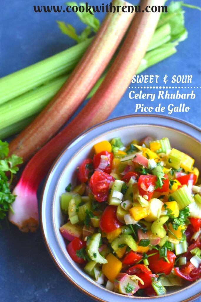 Celery Rhubarb Pico de Gallo served in bowl with rhubarb and celery seen on the side