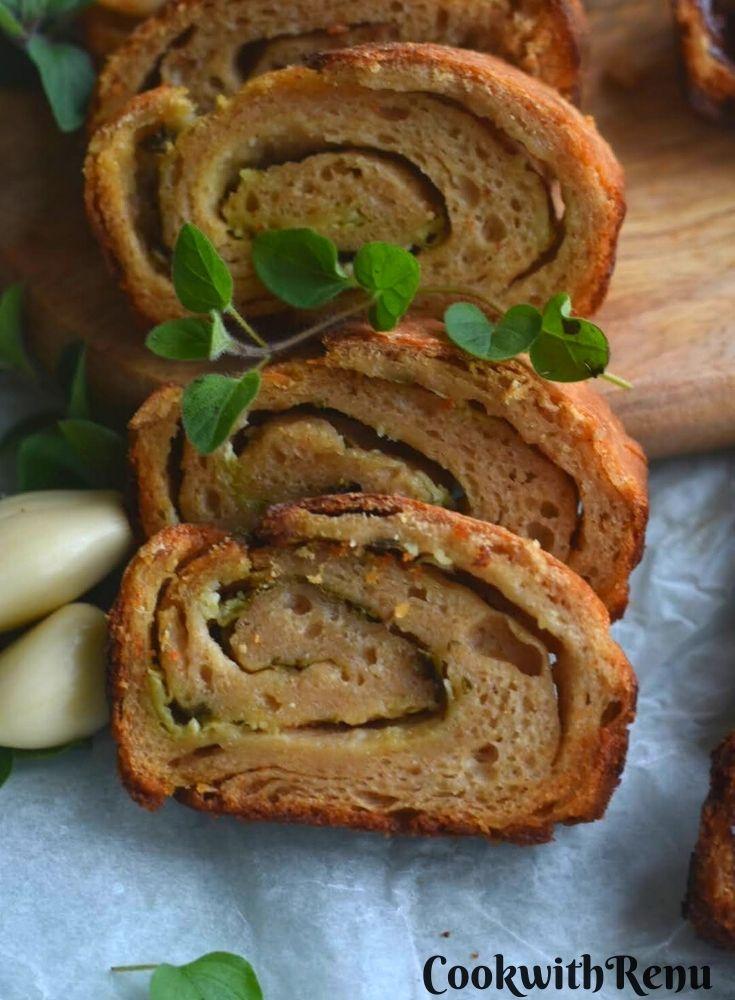 Close up look of Garlic and oregano stuffed sourdough bread