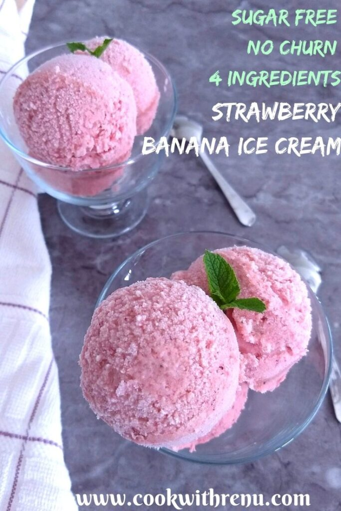 Sugar-Free No-Churn Strawberry Banana Ice Cream served in 2 bowls with some fresh mint seen as garnish