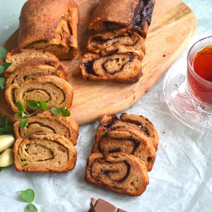 Swirl Sourdough Whole Wheat Bread (Chocolate, Garlic and Herbs) #BreadBakers