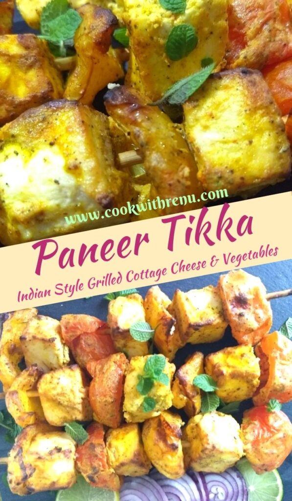 Close up look of Paneer Tikka and paneer tikka served on a black cheese board with lemon and onion wedges on the side
