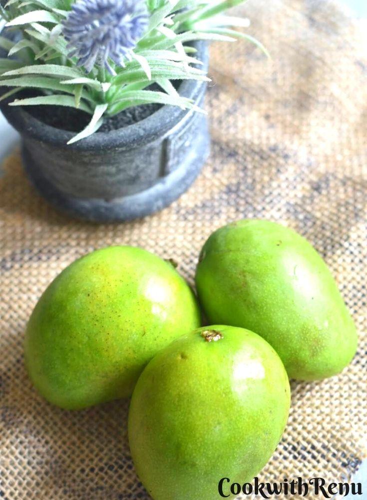 3 Raw Mango or Kairi seen