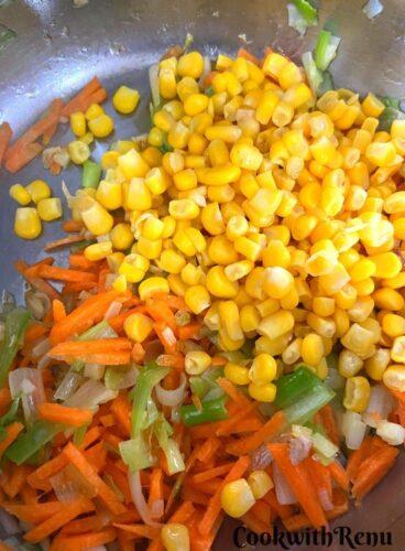 Adding of veggies