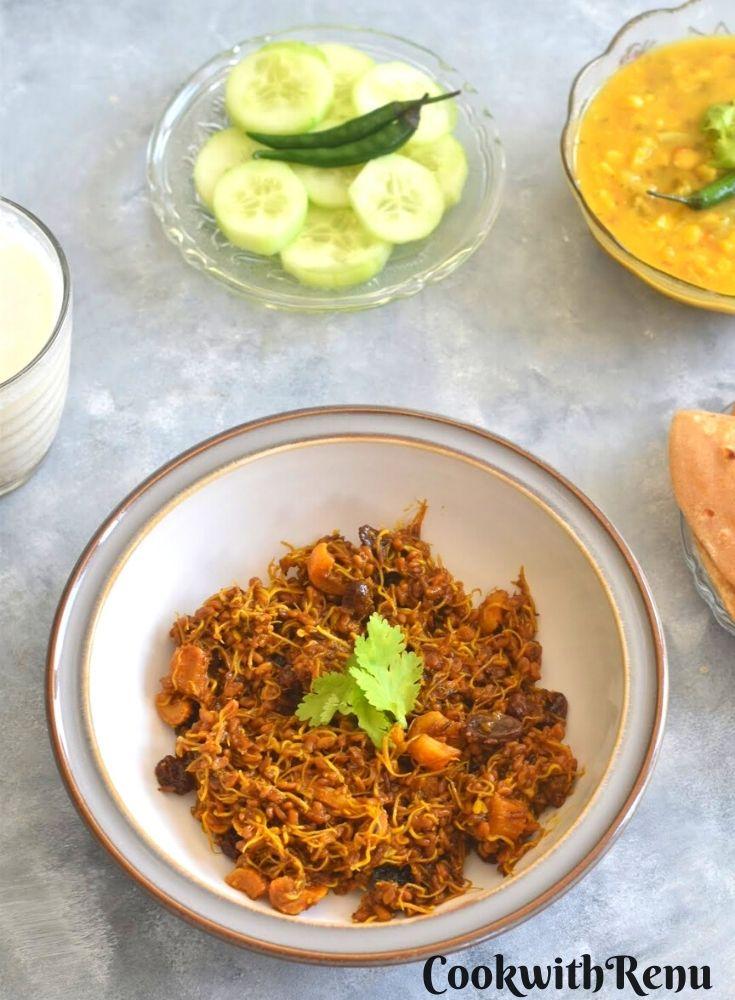 Ankurit Methi Dana Sabji served along with roti, dal, cucumber and chaas