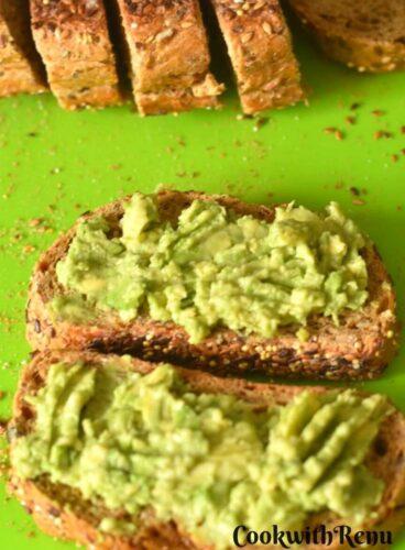 Avocado Spread on bread slices