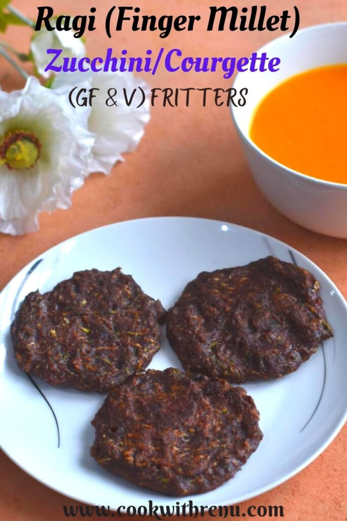 3 Ragi Zucchini Fritters served in a plate along with a bowl of soup