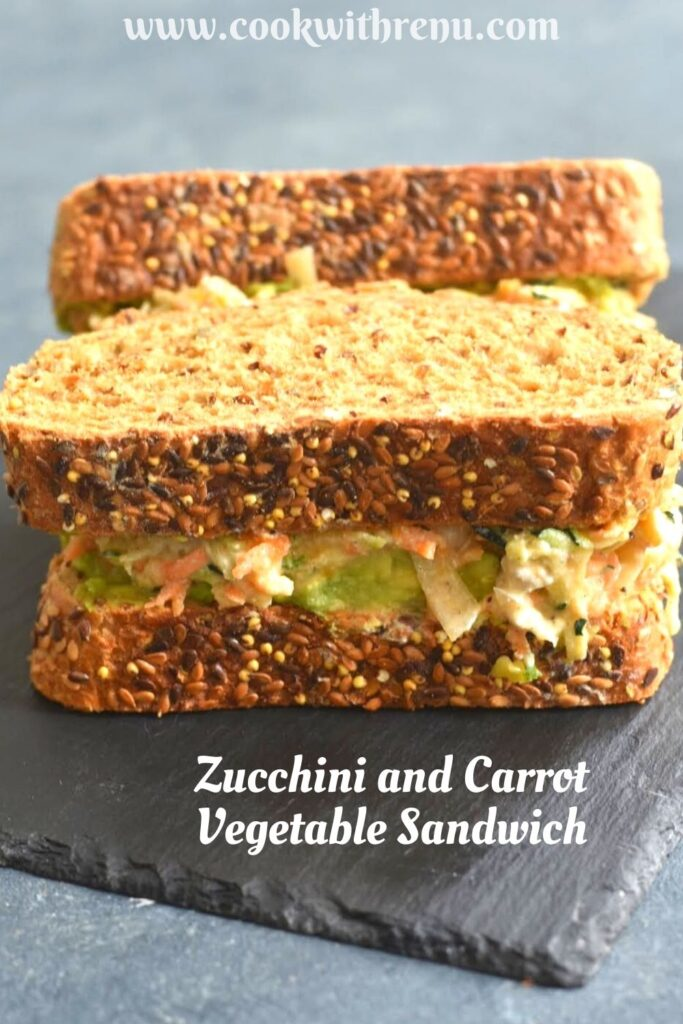 Zucchini, Carrot Sandwich served on a black cheese board