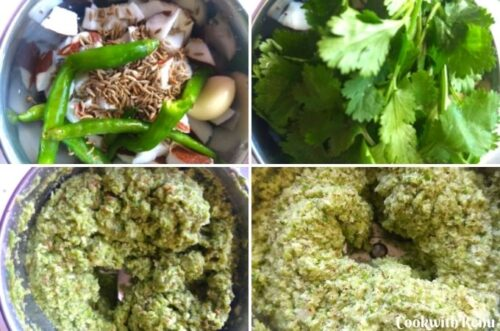 Step by step pics of making of Coconut Coriander Chutney
