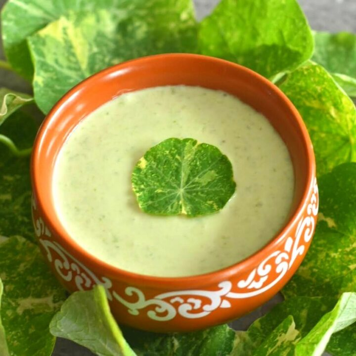 Nasturtium Leaves & Stems Raita served in a brown bowl with some leaves scattered around