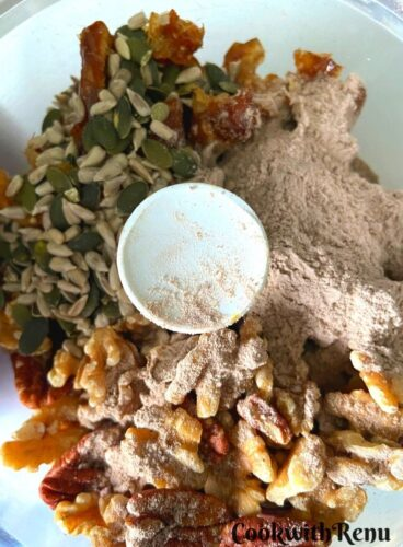 All the ingredients of energy bites into the food processor